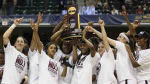 The Texas A&M Aggies celebrate winning the 2011 NCAA Women's Final Four on April 5, 2011.