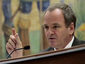 "Republican state Sen. Sam Blakeslee, shown at a committee hearing earlier this year, says the Atascadero hospital has ""an inherently dangerous population."" He's proposed new laws designed to make the hospital safer, including a bill that would make it easier to medicate patients against their will."