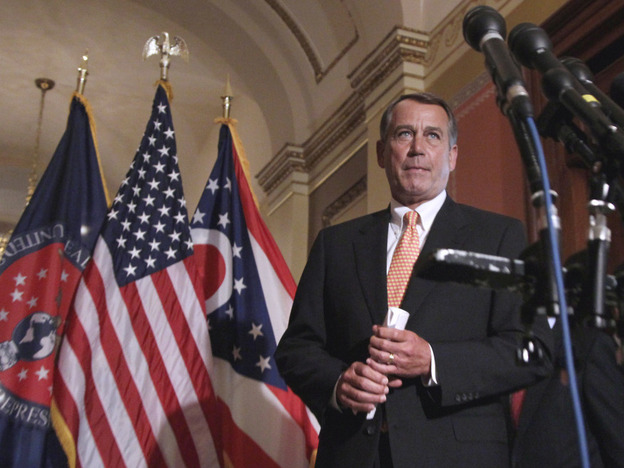 House Speaker John Boehner of Ohio arrives for a news conference Tuesday on Capitol Hill during negotiations over the current federal budget impasse. Negotiators reported little progress Wednesday. (AP)