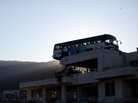 A destroyed bus still sits on a roof of a building in Ishinomaki, Miyagi prefecture. It settled there after the March 11 tsunami that swept over the coast.