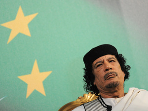 Libyan leader Moammar Gadhafi (shown in a file photo from August 2010) sent a letter to President Barack Obama on Wednesday. In it, Gadhafi appealed for an end to the NATO air effort over his country and wished Obama good luck on his 2012 re-election campaign.