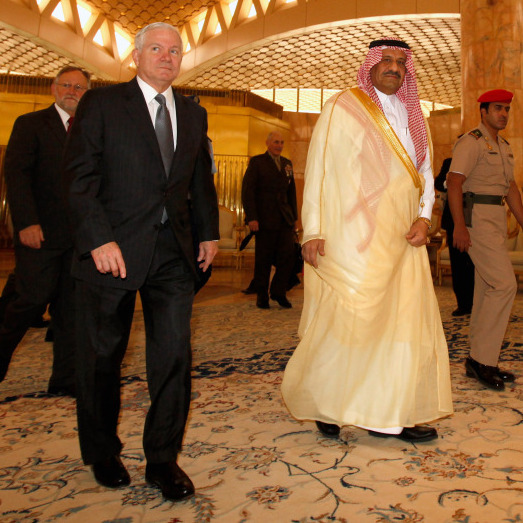 Defense Secretary Robert Gates and Saudi Assistant Minister of Defense and Aviation Prince Khalid bin Sultan in Riyadh, Saudi Arabia on April 6, 2011.