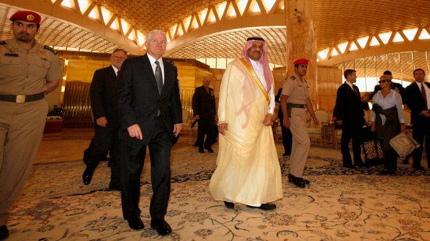 Defense Secretary Robert Gates and Saudi Assistant Minister of Defense and Aviation Prince Khalid bin Sultan in Riyadh, Saudi Arabia on April 6, 2011.