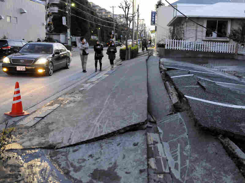 Liquefaction in Urayasu city, outside Tokyo, created an uneven buckling and settling of roads and the surface.