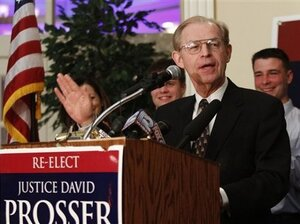 Justice David Prosser speaks to supporters in Waukesha Wis., on Tuesday.