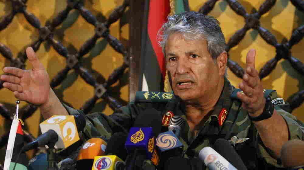 Libyan rebel leader Gen. Abdelfatah Yunis speaks during a news conference in Benghazi, Libya, on April 5, 2011.