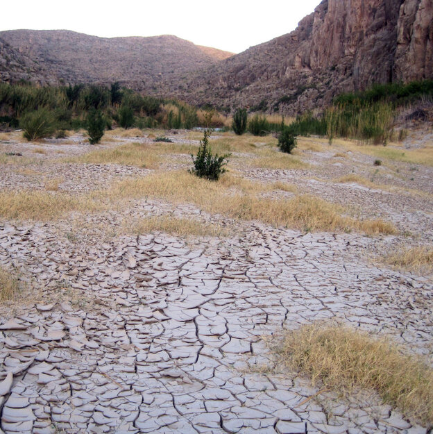 A dry river bed at Big Bend National Park along the banks of the Rio Grande in Texas, where it has not rained since September 2010.