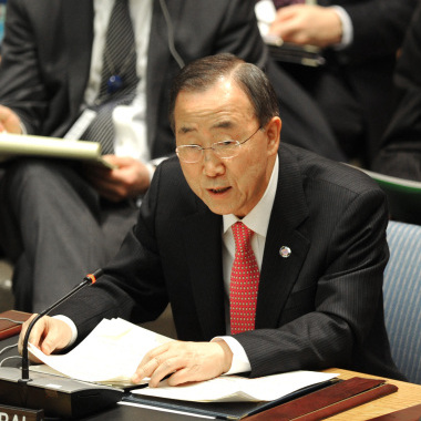 UN Secretary General Ban Ki-moon addresses the Security Council on March 24, 2011.