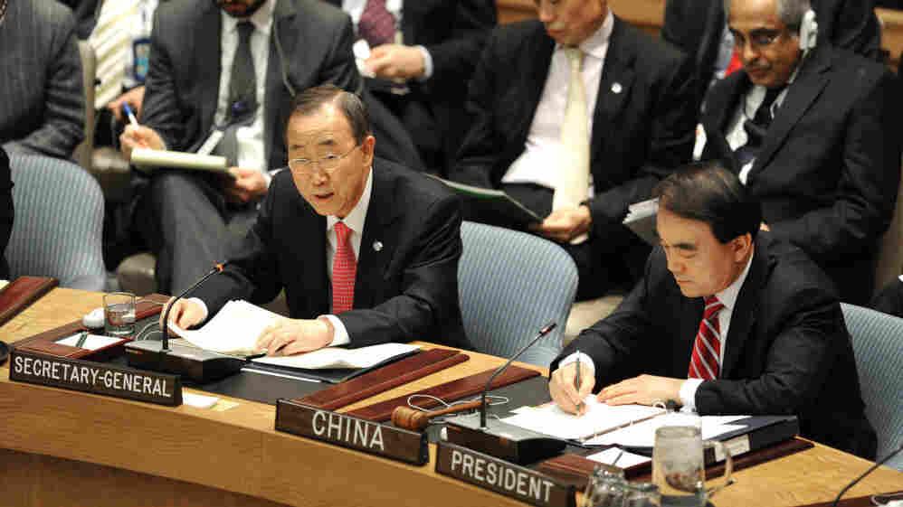 UN Secretary General Ban Ki-moon addresses the Security Council on March 24, 2011.