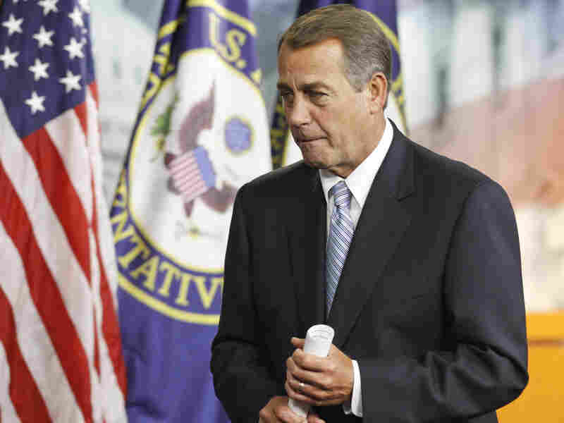 House Speaker John Boehner of Ohio leaves after a news conference Thursday on Capitol Hill.