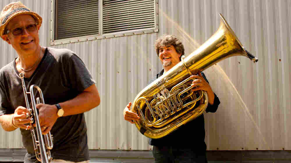 Dave Douglas (left) and Marcus Rojas warm up backstage before performing at the Newport Jazz Festival. Coincidentally, this is the cover of Brass Ecstacy's new album from this recording, United Front: Brass Ecstasy at Newport.