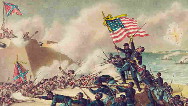 A print made in 1890 commemorates the 1863 storming of  Morris Island by the 54th Massachusetts Regiment, one of the first all-black units of the Union Army. The men lost that battle, but proved themselves as soldiers.