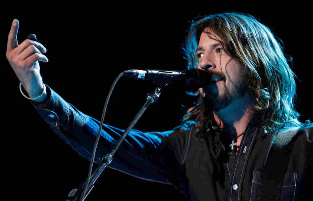 """Dave Grohl on stage with the Foo Fighters at the Grammy Awards in 2008. """"The first time I ever went to a big concert it freaked me out,"""" Grohl says. """"[I thought,] this is insane."""""""