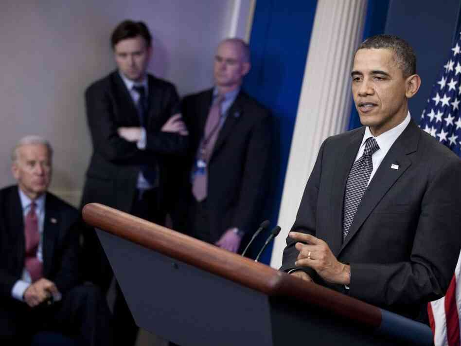 President Barack Obama speaks to the press after a meeting with Senate Majority Leader Harry Reid and Speaker of the House John Boehner to break a stalemate in budget negotiations. The standoff could force the federal government to close on Friday.