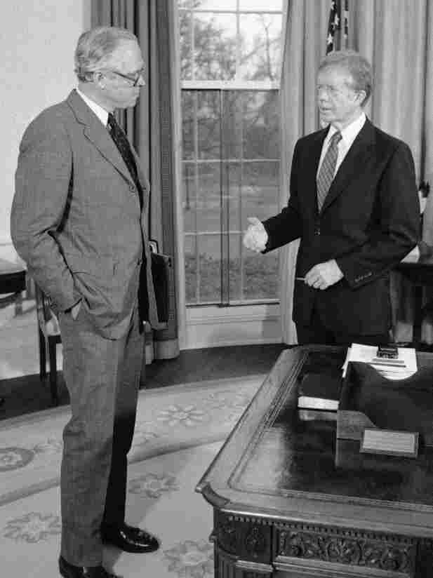 Benjamin Civiletti (left), Jimmy Carter's attorney general, wrote a legal opinion that argued that if Congress doesn't say yes to spending on time, it means no.