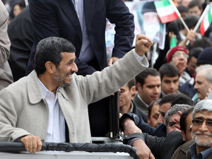 Iranian President Mahmoud Ahmadinejad waves to supporters during a rally in Tehran in February. Some believe that economic woes will make it hard for Ahmadinejad to hold on to his working-class base.