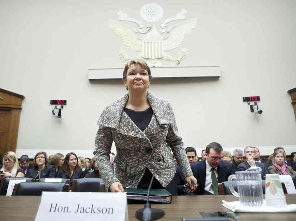 Environmental Protection Agency Administrator Lisa P. Jackson arrives for a hearing on Capitol Hill to discuss The Energy Tax Prevention Act of 2011 and its effect on the Clean Air Act's regulation of greenhouse gases. The EPA's regulation of pollution is a hotly contested issue in the ongoing budget debate.