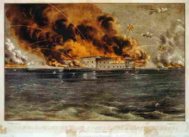 Lithograph of the 1861 bombardment of Fort Sumter in South Carolina's Charleston Harbor.