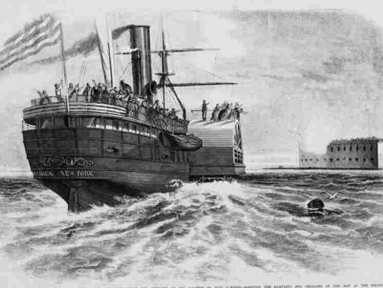 Wood engraving from 1861 of the steamship Marion bearing families of Federal soldiers away from Fort Sumter.