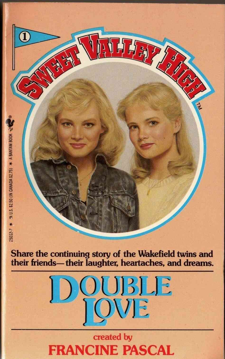 A book cover from the old Sweet Valley High series featuring stylish Jessica and studious Elizabeth. Double Love was the first of over 150 books in the series, introducing the twins — and love interest Todd Wilkins.