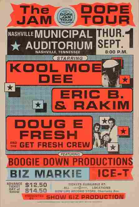 """A 1988 poster advertising the Dope Jam Tour. Globe Posters highlight each act on a particular bill.  """"It made that person really stand out,"""" says owner Bob Cicero. """"Whether he was important or not, he looks important."""""""