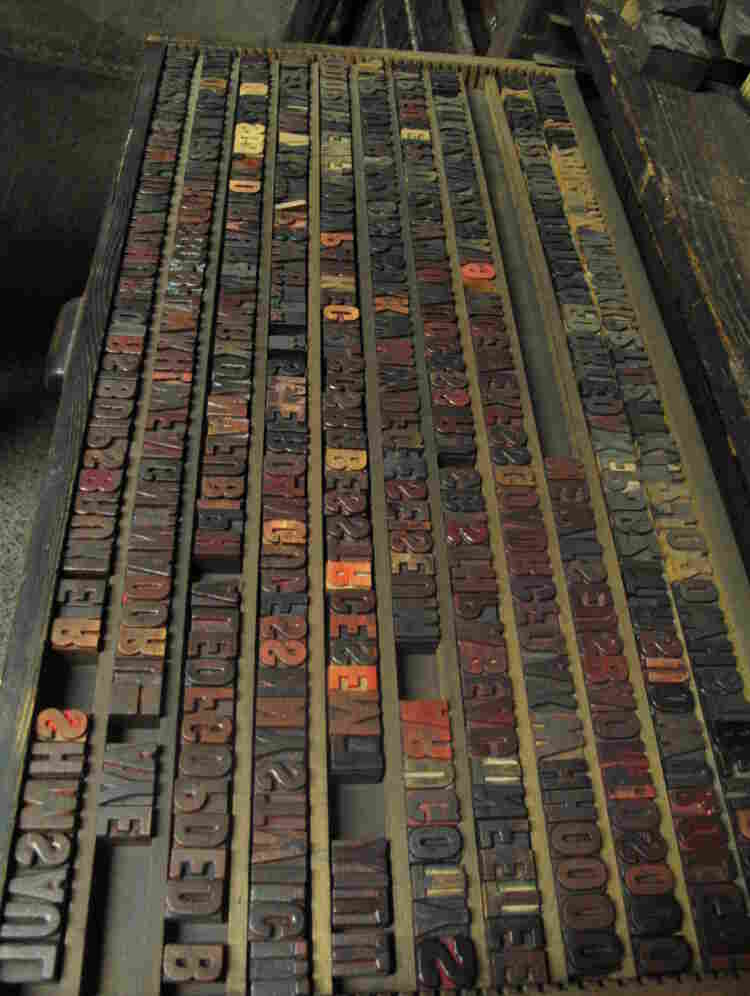 Globe Poster's collection includes countless printing materials, such as this drawer of type blocks.