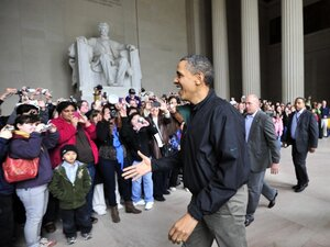 Well, Since It's Open: President Obama paid a surprise visit to the Lincoln Memorial on Saturday, after a last-gasp deal prevented a government shutdown. But Democrats and Republicans will have to resolve even larger budget issues in the coming months.