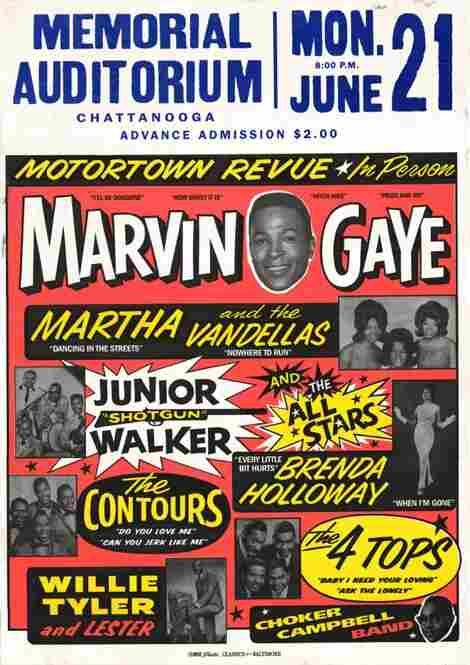 "A poster for the Motortown Revue, reprint of the 1965 original. Globe would often print catchphrases like ""Live,"" ""In Person"" or ""Guest-starring"" on its large bill posters."