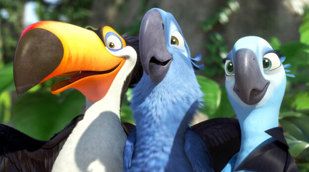 Birds In Paradise: A plan to mate Blu (Jesse Eisenberg, center) and Jewel (Anne Hathaway) runs aground after the endangered macaws are snatched by smugglers. On the run in Rio, they team up with a local toucan (George Lopez).