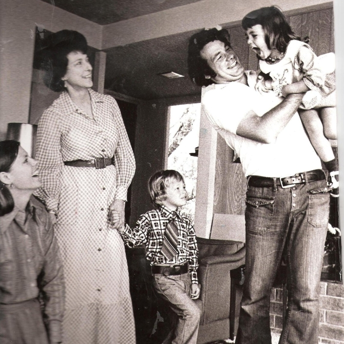 "Cokie Roberts (far left) and Steve Roberts with Cokie's mother, Lindy Boggs, and children Lee and Rebecca. Cokie, who was raised in what she describes as a ""very Catholic"" family, hosted her first Passover Seder in 1969."