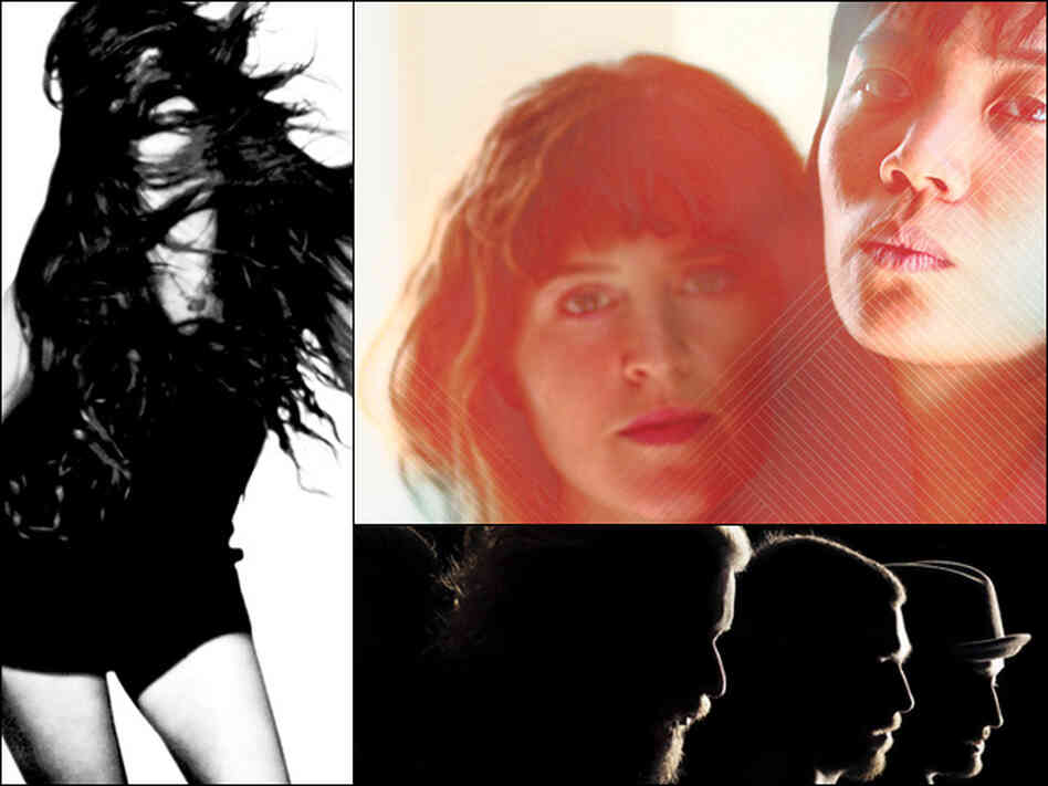 Madeline Follin of Cults (left), Mirah and Thao (upper right), My Morning Jacket (lower right).