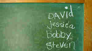 Blackboard with a list of names