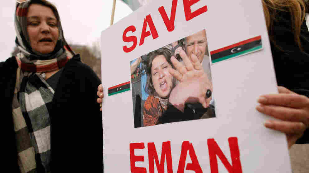 Last month at the White House, Libyan-American women demonstrated to show solidarity with Iman al-Obeidi, who says she was raped by forces loyal to Moammar Gadhafi.
