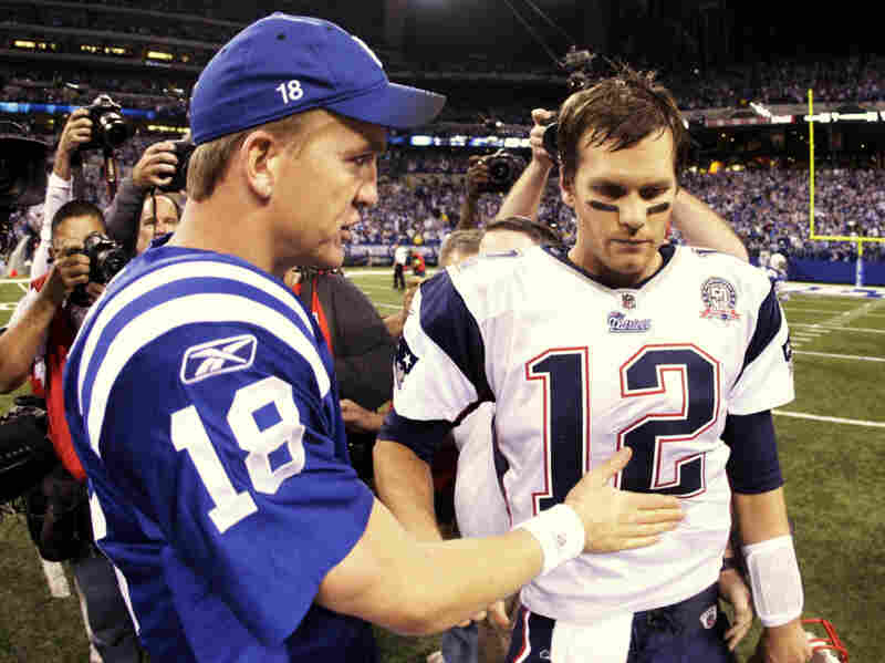 NFL stars like Peyton Manning (left) and Tom Brady are most likely better positioned to cope with a delayed season than are players with fewer resources. The two quarterbacks are part of a group of players who filed an antitrust lawsuit against the league.