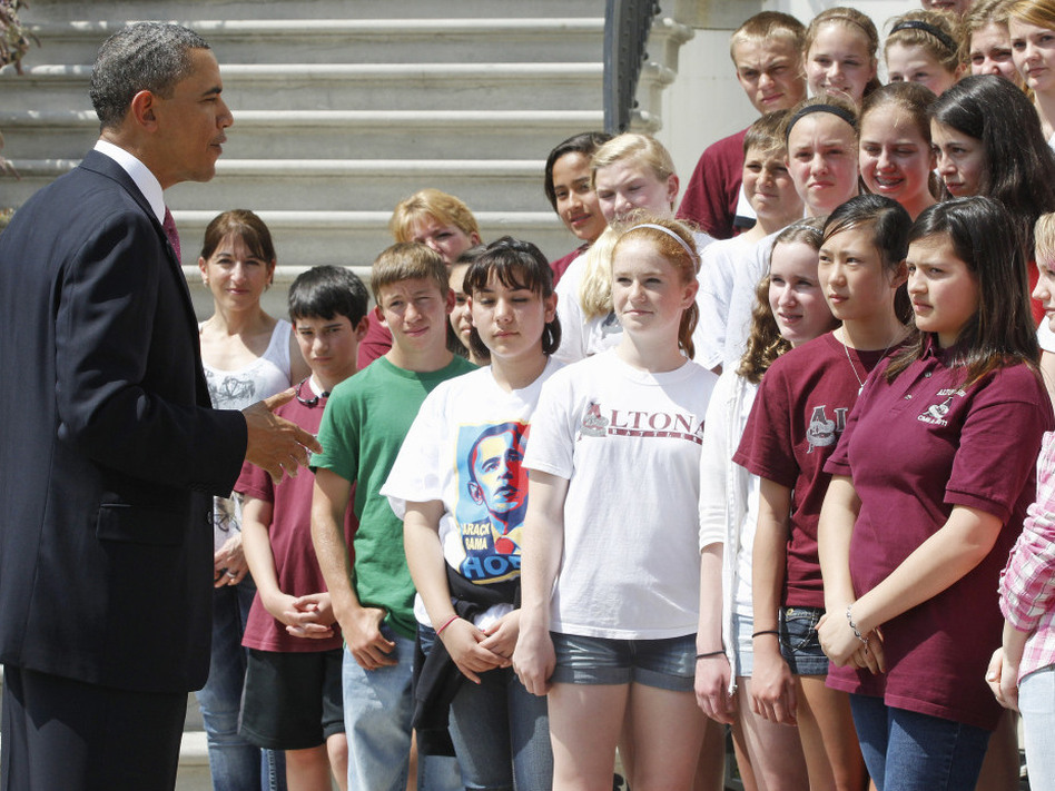 President Obama meets middle school students from a Longmont, Colo. at the White House, April 11, 2011. (Charles Dharapak/AP)
