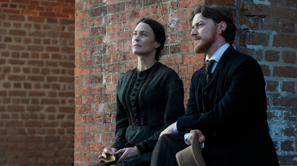 <strong>Until proven guilty:</strong> Charged with treason and tried by a military tribunal in the Lincoln assassination plot, Confederate sympathizer Mary Surratt (Robin Wright) is defended in court by former Union soldier Frederick Aiken (James McAvoy). (Claudette Barius/Roadside Attractions)