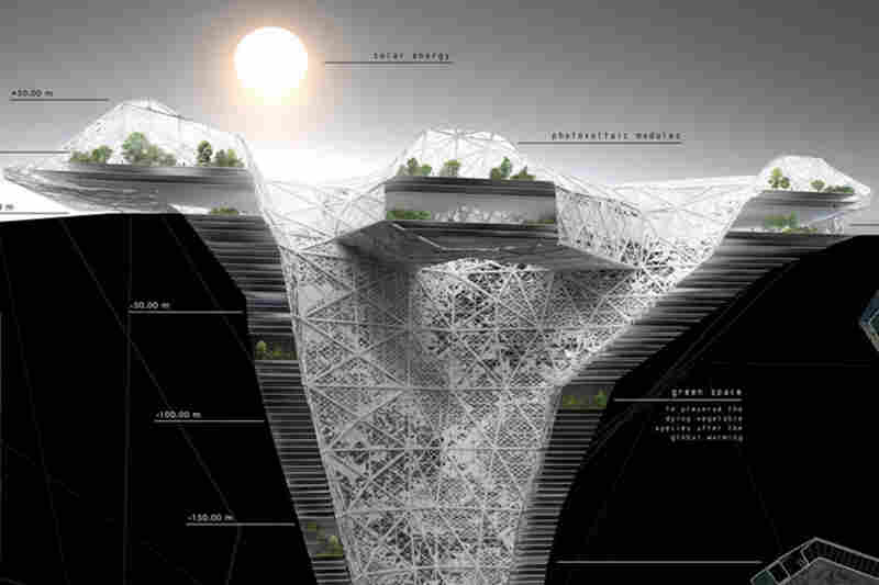 Rhizome Tower explores the creation of an underground city divided into four layers around a central core that is open to light. The first layer, above the surface, contains the recreational and food production facilities, with solar cells and wind turbines to harvest energy. The next layers would be residential and office space, and the bottom layer would be dedicated to harvesting geot...