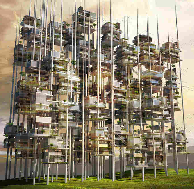 Seeds of Life Skyscraper proposes an exoskeleton where different types of living and working units could be plugged in — from small ones for single families to large ones for recreational areas such as parks and sports facilities.