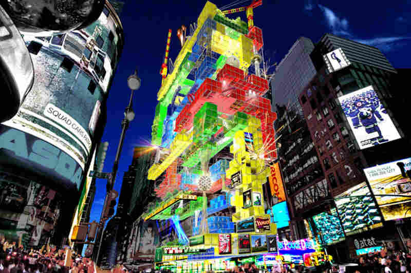 Rollin' and Tumble seeks to transform One Times Square into a vertical amusement park, using a roller coaster as means of transportation between the different attractions. The park is divided into zones of different colors, with each zone composed of a series of modules attached to a steel exoskeleton.