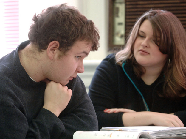 "Lowell Austin, an autistic student at Marshall University in Huntington, W.Va., receives tutoring from Stephanie Hurly at the university's Autism Training Center, one of several college programs highlighted on the website <a href=""http://collegeautismspectrum.com/index.html"">College Autism Spectrum</a>."