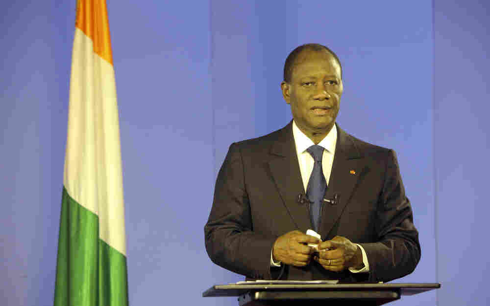 Ivory Coast President Alassane Ouattara addresses his nation from Abidjan after rival
