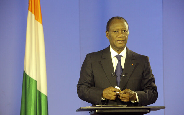 Ivory Coast President Alassane Ouattara addresses his nation from Abidjan after rival Laurent Gbagbo was arrested on April 11, 2011.