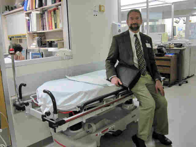 """""""The inside of the ER is kind of like Las Vegas,"""" with a """"24/7, 365 flow of  activity,"""" says Dr. Gary Bubly, an emergency physician at The Miriam Hospital in Providence, R.I."""