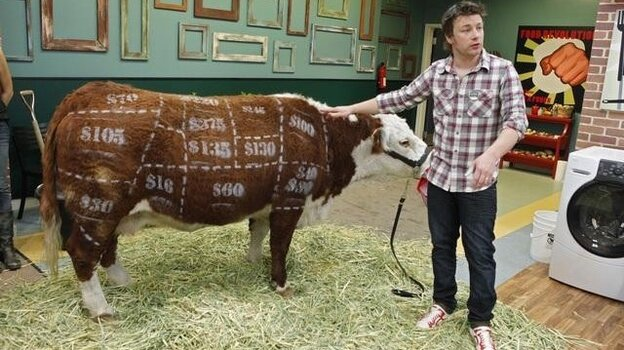 Jamie Oliver, celebrity chef and nutritional activist, poses with a cow he's marked to show the prices of different cuts on tonight's premiere episode of the second season of Jamie Oliver's Food Revolution.