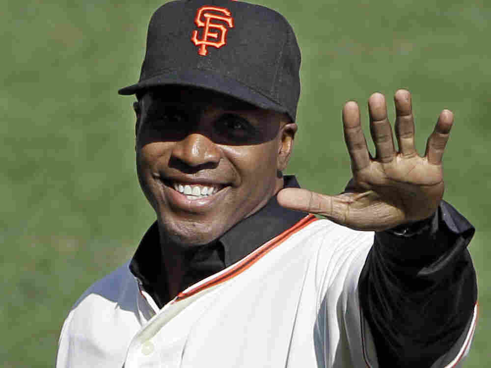 Former San Francisco Giants player Barry Bonds waves to the crowd before throwing out the first pitch before a National League Championship Series game in October of 2010. Bonds is currently being tried for perjury, charged with obstruction of justice and lying to a grand jury in 2003 about steroid use.