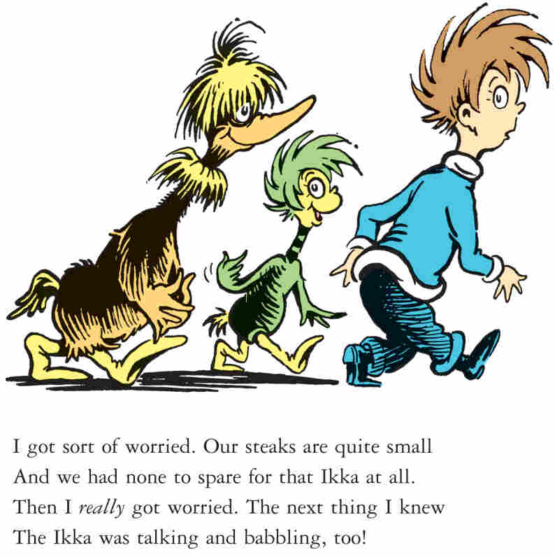 """In this illustration from a story called """"Steak for Supper,"""" a crew of creatures follow a boy home in hopes of getting a steak dinner. The story is one of seven rediscovered Dr. Seuss shorts from The Bippolo Seed."""
