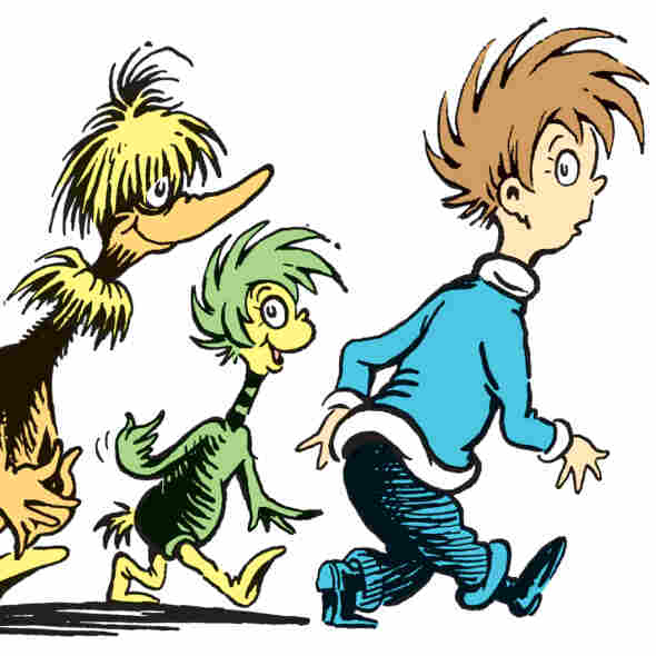 "In this illustration from a story called ""Steak for Supper,"" a crew of creatures follow a boy home in hopes of getting a steak dinner. The story is one of seven rediscovered Dr. Seuss shorts from The Bippolo Seed."
