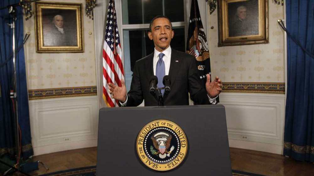 President Obama at the White House following remarks on the federal budget on April 8, 2011.
