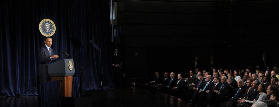 President Barack Obama unveils his plan for the nation's future fiscal policy at George Washington University in Washington, D.C. (Mandel Ngan/AFP/Getty Images)