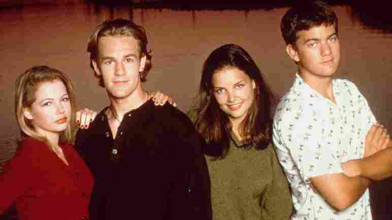 "The cast of Dawson's Creek. From left to right: Michelle ""Two Oscar Nominations"" Williams (Jennifer Lindley), James ""Good Thing He Has A Sense Of Humor"" Van Der Beek (Dawson Leery), Katie ""Well, You Know"" Holmes (Joey Potter) and Joshua ""Fringe"" Jackson (Pacey)."